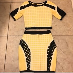 two piece matching crop top and skirt!